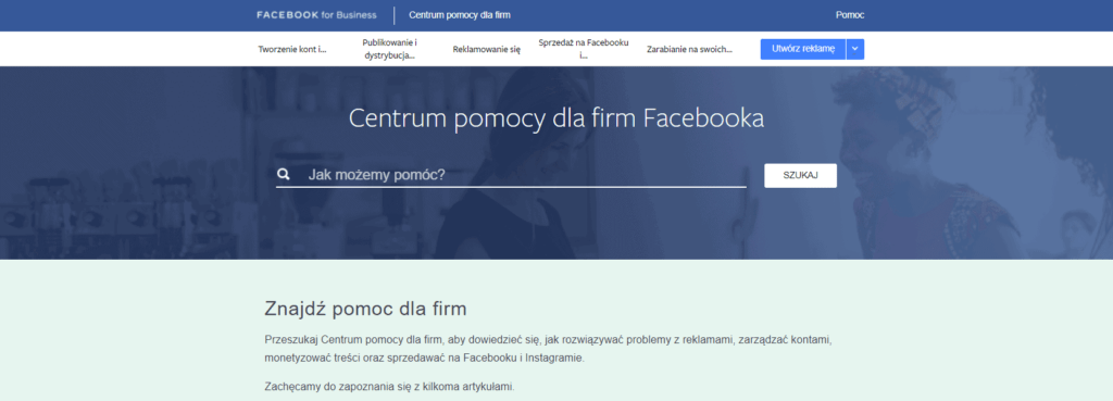 centrum pomocy dla firm Facebooka